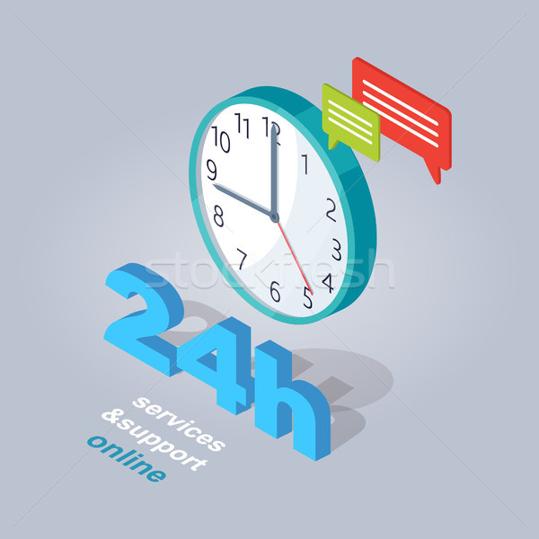 24 Hours Service and Support Online Illustration Stock photo © robuart