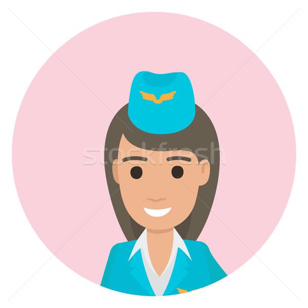 Cheerful Dark-haired Stewardess in Blue Uniform Stock photo © robuart