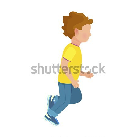 Faceless Young Boy Runs Isolated Illustration Stock photo © robuart