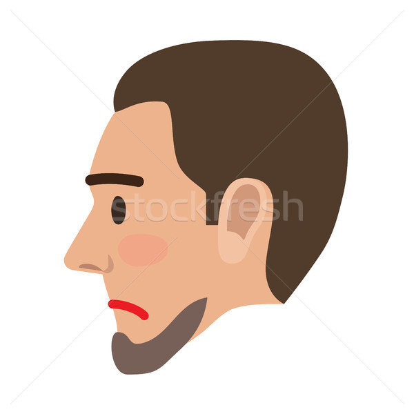 Sad Man Face in Profile View Flat Vector Icon Stock photo © robuart