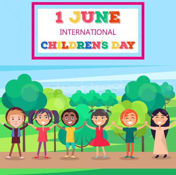 1 June International Childrens Day Poster of Kids Stock photo © robuart