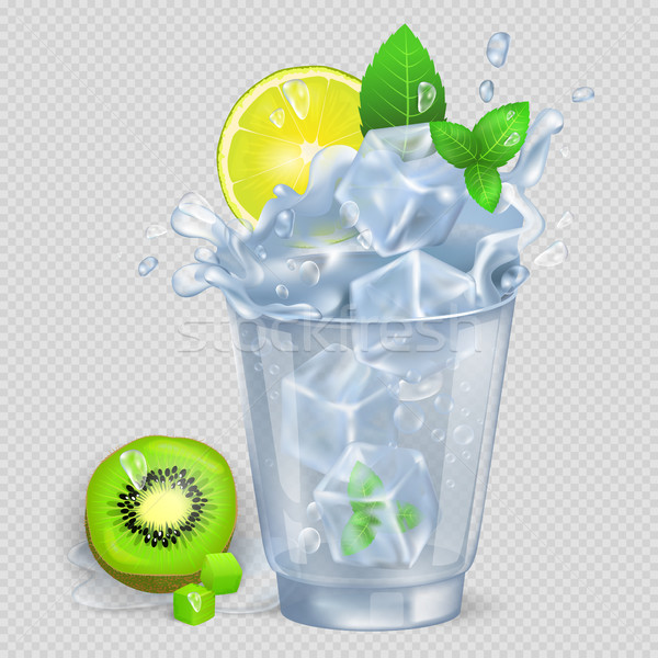 Faceted Glass of Mojito with Ice Illustration Stock photo © robuart