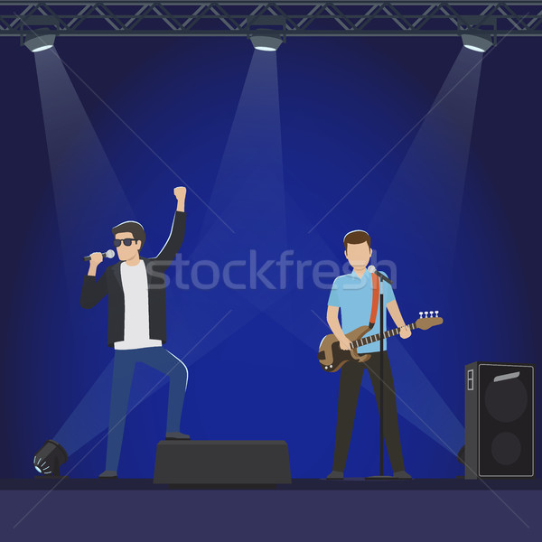 Musical Group Performs on Big Stage Illustration Stock photo © robuart