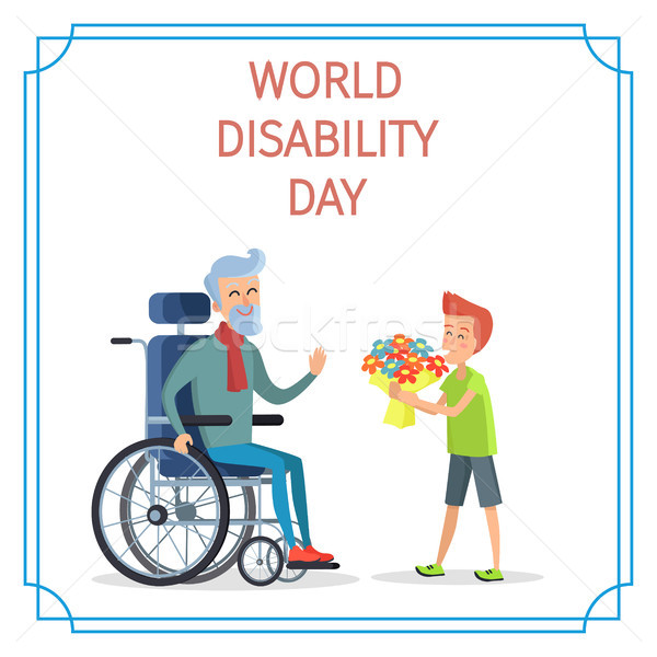 Мир инвалидность день мальчика представляет букет Сток-фото © robuart