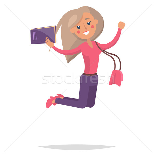 Jumping Blond Girl Student with Book Illustration Stock photo © robuart