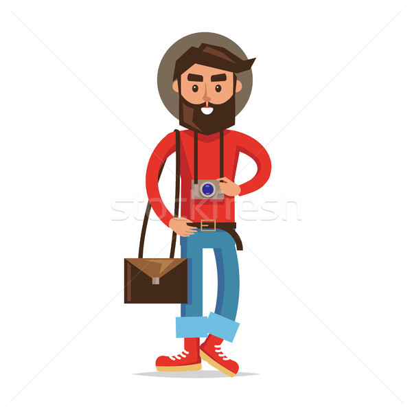 Hipster Tourist with Camera Cartoon Character Stock photo © robuart