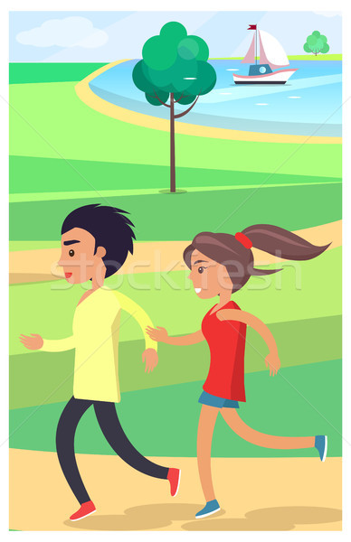 Boy and Girl Jog at Park along Path Near Pond Stock photo © robuart