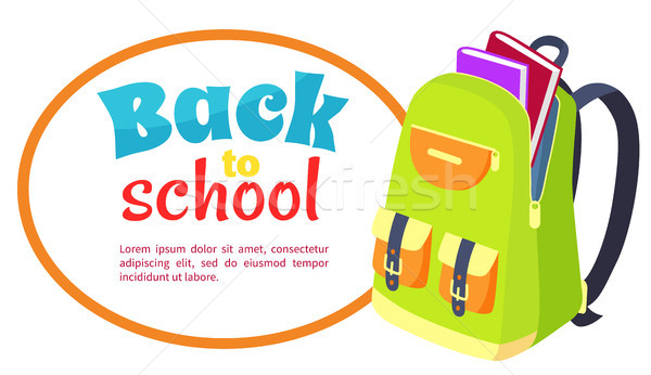 Back to School Poster with Open Schoolbag, Books Stock photo © robuart