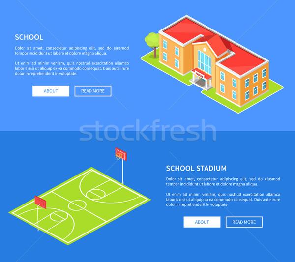 School Stadium and Educational Establishment 3D Stock photo © robuart