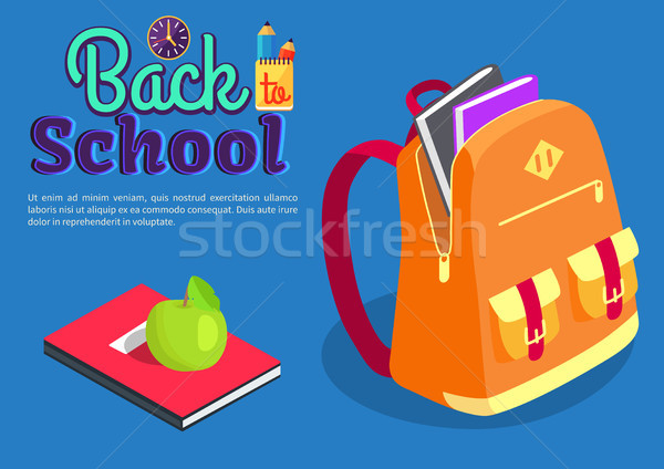 Backpack Full of Book Textbook with Apple Vector Stock photo © robuart