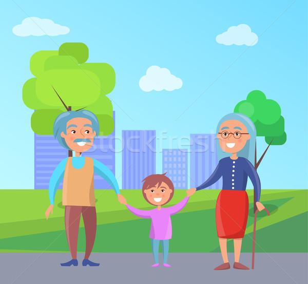 Gelukkig grootouders dag kleinzoon lopen Stockfoto © robuart