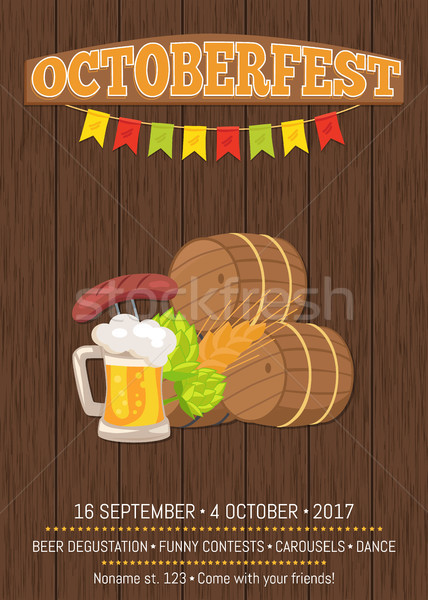 Octoberfest Poster with Wooden Background and Text Stock photo © robuart