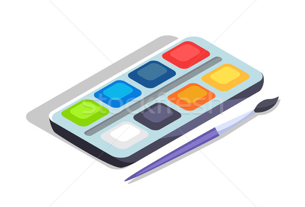 Watercolor Paints Colorful Palette Box with Brush Stock photo © robuart