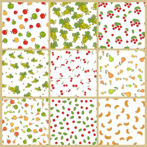 Stock photo: Autumn Plants Element Vector Seamless Patterns Set