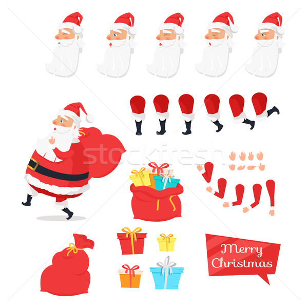 Stock photo: Christmas Set of Santa Claus Part Create Character