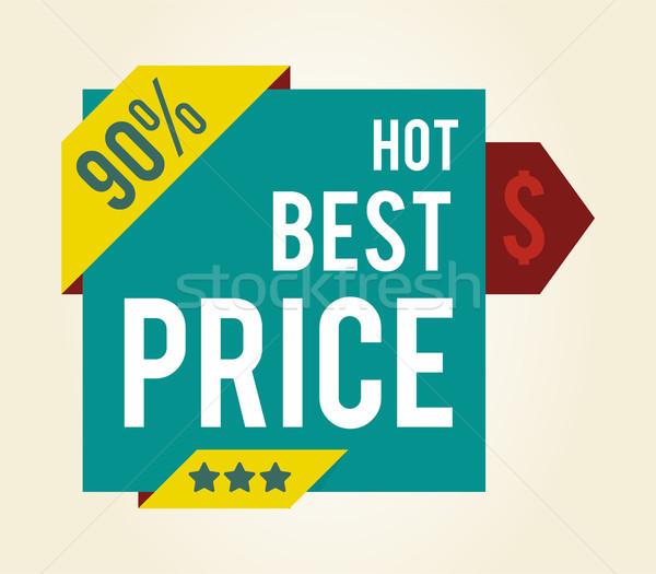 Forró legjobb ár csillagok matrica dollár szimbólum Stock fotó © robuart