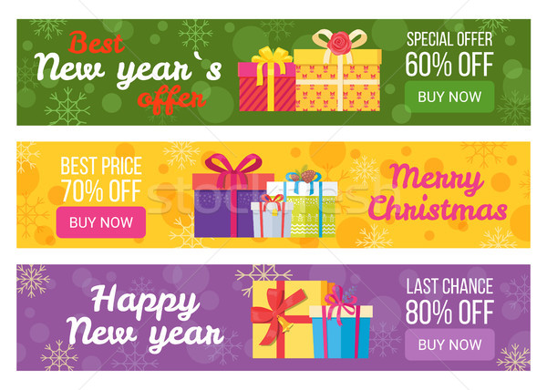 Colorful Set of Sale Banners Best Price Buy Now Stock photo © robuart