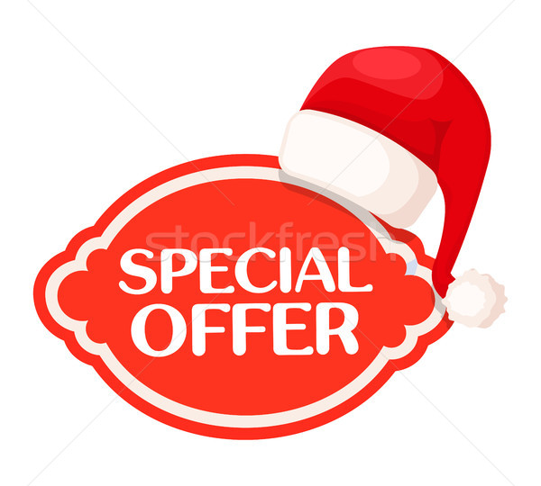 Special Offer red Label under Santa Claus Hat Stock photo © robuart