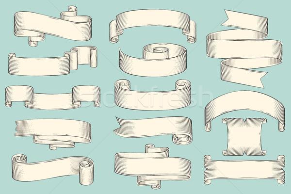 Göndör üres papír csíkok felirat elhelyezés hosszú Stock fotó © robuart