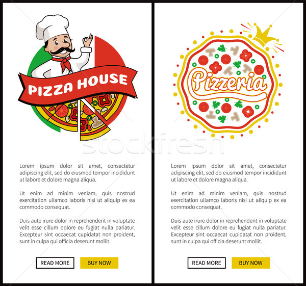 Pizza House and Pizzeria Set Vector Illustration Stock photo © robuart