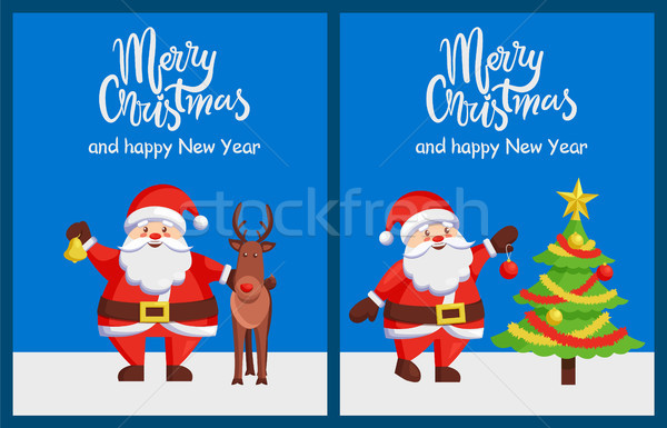 Merry Xmas Happy New Year Posters Santa Deer Tree Stock photo © robuart