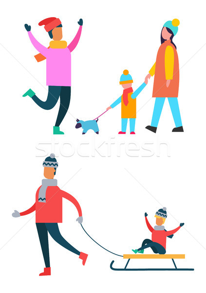 Father Carrying Child on Sleigh Son and Dad Vector Stock photo © robuart