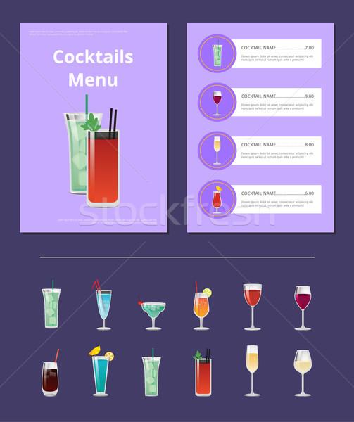 Koktajle menu bar układ napoje Zdjęcia stock © robuart