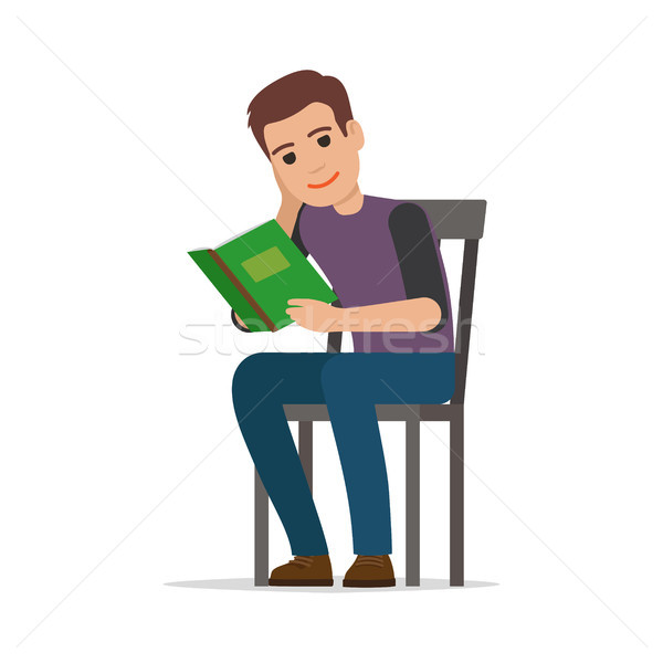 Student Seating and Reading Textbook Flat Vector  Stock photo © robuart