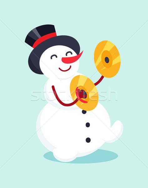 Kardan adam davul zil enstrüman ikon karikatür Stok fotoğraf © robuart