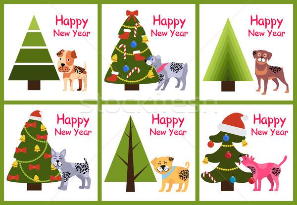 Stok fotoğraf: Ayarlamak · happy · new · year · posterler · Noel · ağaçlar · köpekler