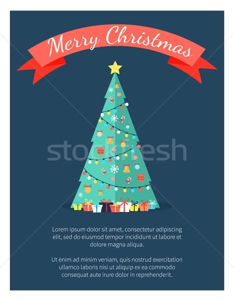 Foto stock: Alegre · natal · cartaz · decorado · árvore · arcos