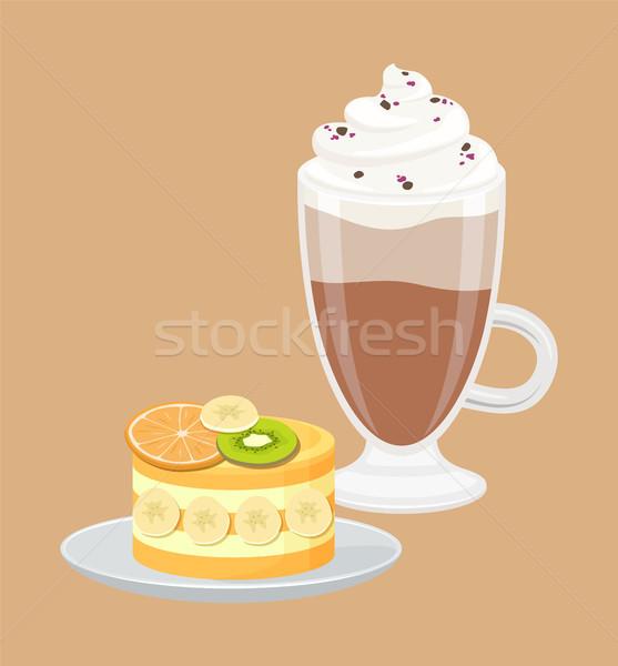 Taza café pastel de frutas grande blanco crema Foto stock © robuart