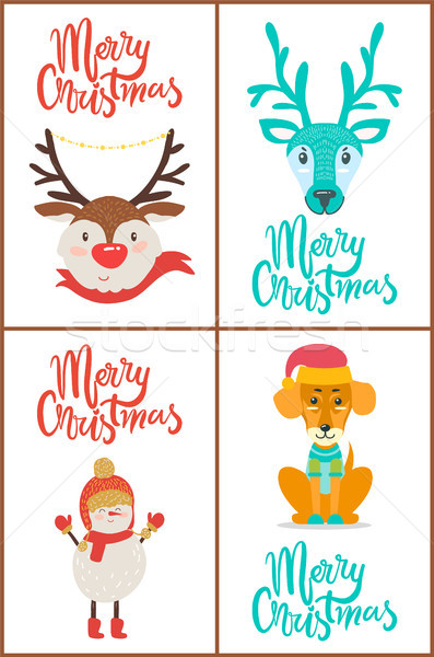 Merry Christmas Greeting Cards Vector Illustration Stock photo © robuart