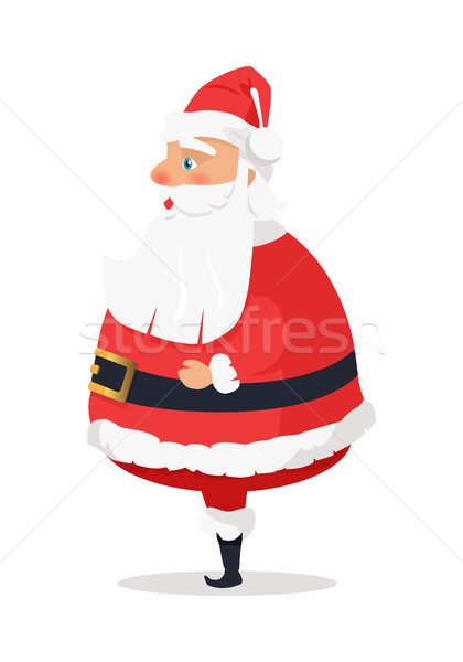 Stock photo: Isolated Standing Santa Claus on White Side View.