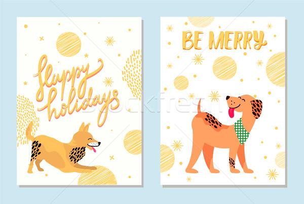 Gelukkig vakantie vrolijk ansichtkaarten honden gouden Stockfoto © robuart