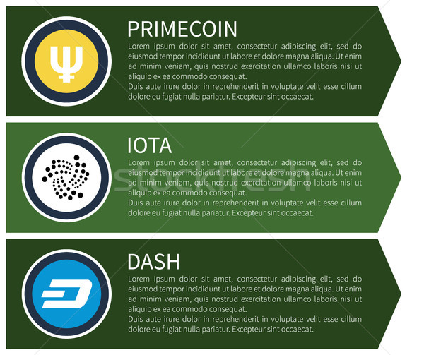 Yellow Primecoin, White Iota and Blue Dash Set Stock photo © robuart