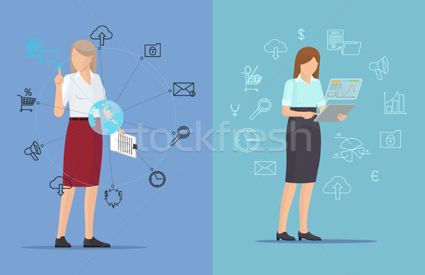 Tech Icons and Busy Women, Two Colorful Posters Stock photo © robuart
