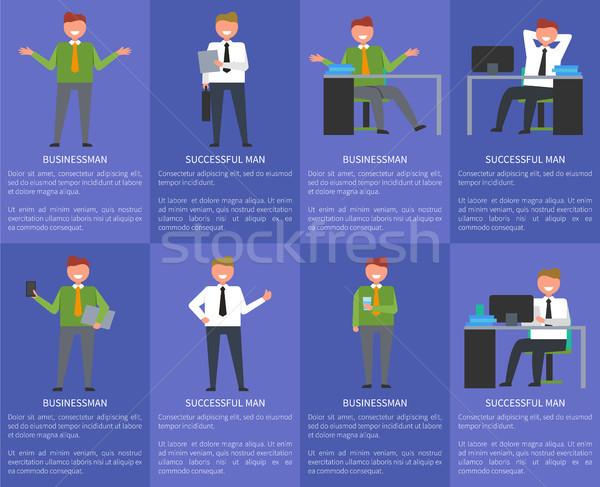 Acht iconen zakenman geslaagd man tekst Stockfoto © robuart
