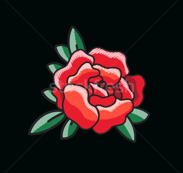 Czerwona róża czarny kontury zielone liście za Zdjęcia stock © robuart