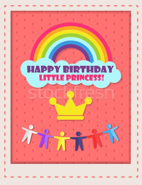 Alles Gute zum Geburtstag Prinzessin Karte wenig Regenbogen Wolke Stock foto © robuart