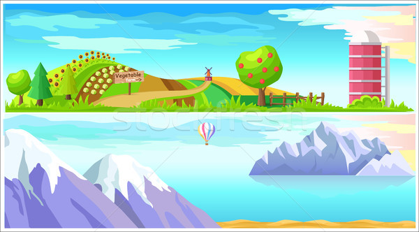 Vegetable Farm and Arctic Nature Vector Landscapes Stock photo © robuart