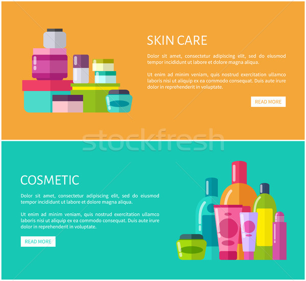 Skincare Cosmetic Online Advertisement Pages Set Stock photo © robuart