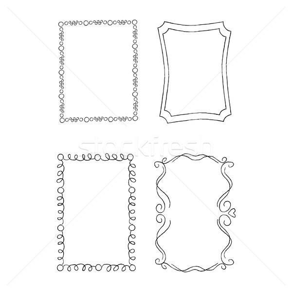 Rechteckige Hand gezeichnet Frames Vektor Set Stock foto © robuart