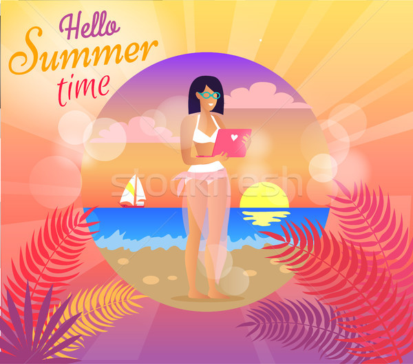 Hello Summer Time Poster, Vector Illustration Stock photo © robuart