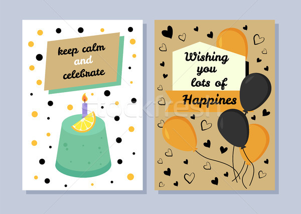 Keep Calm and Celebrate, Congratulation Postcards Stock photo © robuart