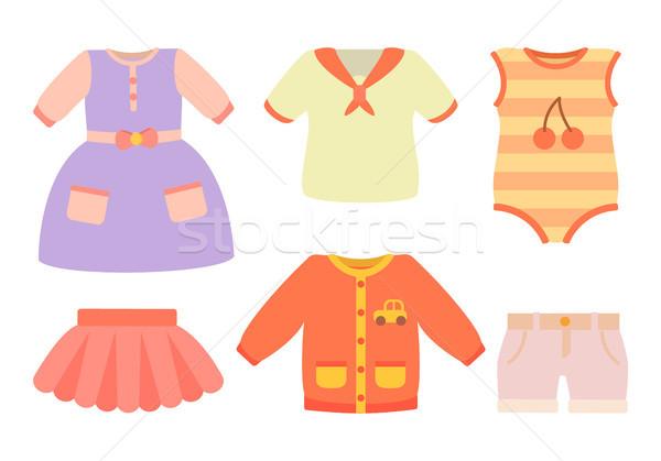 ストックフォト: 赤ちゃん · 服 · ポスター · セット · ドレス · スカート