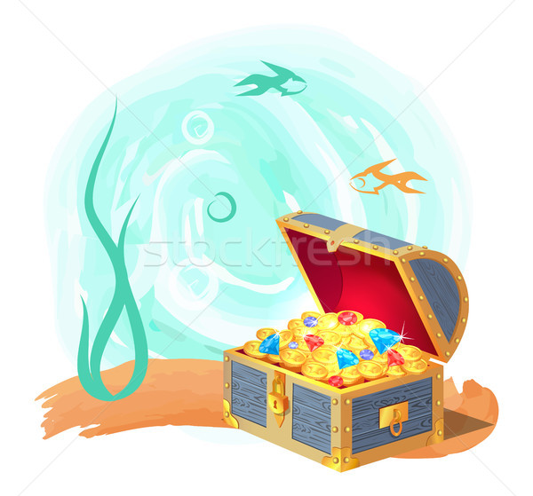 Mysterious Chest of Treasures at Deep Sea Bottom Stock photo © robuart
