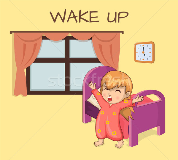 Wake Up Poster Sleepy Girl Vector Illustration Stock photo © robuart