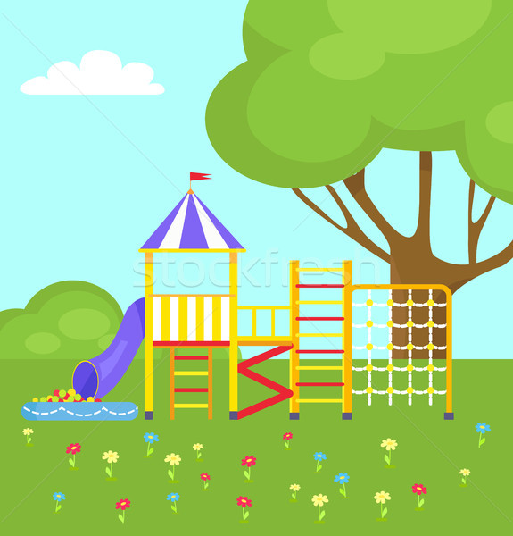 Playground for Kids with Different Ladders Vector Stock photo © robuart