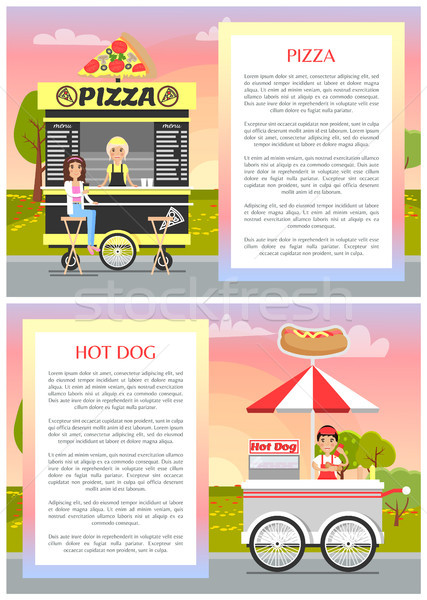 Pizza and Hot Dog Stands with Wheels, Tasty Food Stock photo © robuart